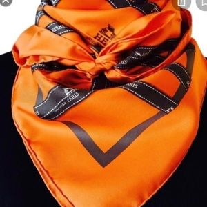 Hermès Orange and Brown scarf Authentic